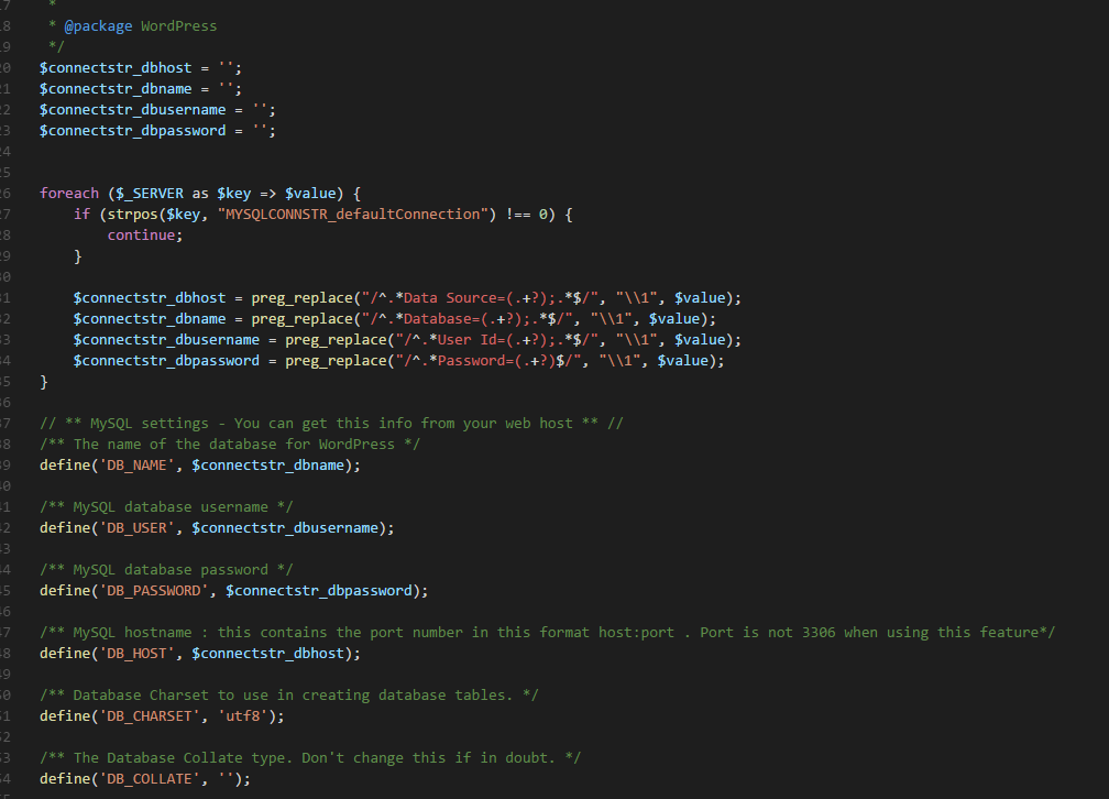 Migrating a WordPress DB from MySQL in-app to MySQL on Azure