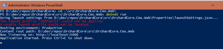dotnet run command line response