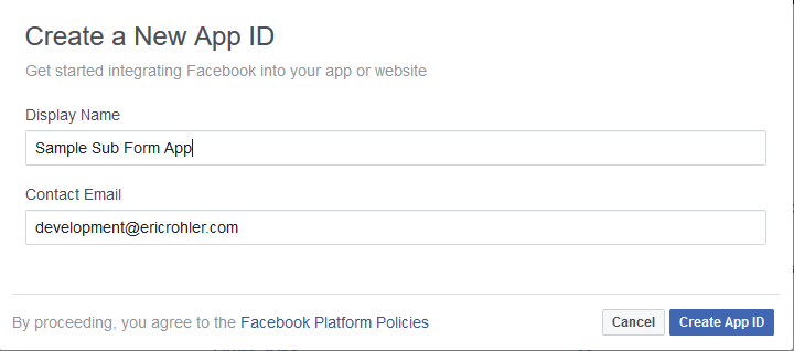 facebook create a new app id form