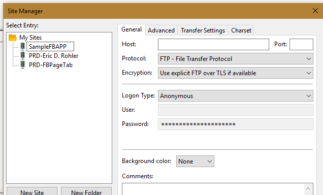 filezilla ftp client site manager